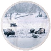 A Cold Winter's Day Round Beach Towel