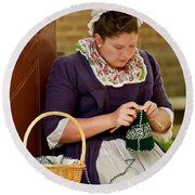 A Colonial Lady Knits Round Beach Towel