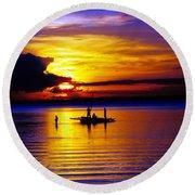 A Colorful Golden Fishermen Sunset Vertical Print Round Beach Towel