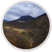 A Colorful Scene Of Burned And Lush Interspersed Foliage In The Southwest Foothills Of The Sierra Ne Round Beach Towel