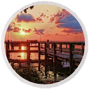 A Colorful Sunrise Round Beach Towel