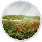 A Corner Of The Field In Bloom Round Beach Towel