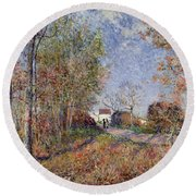 A Corner Of The Woods At Sablons Round Beach Towel
