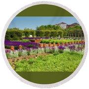 A Corridor Of Purple Sage Flowers And Stachys Lanata Sunlit Round Beach Towel