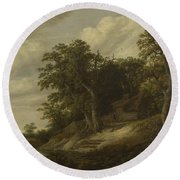 A Cottage Among Trees On The Bank Of A Stream Round Beach Towel