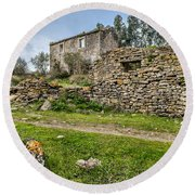A Cottage In Ruins Round Beach Towel