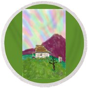 A Cottage In The Alps Round Beach Towel