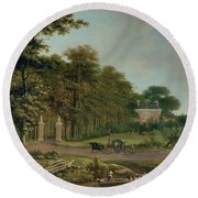 A Country House Round Beach Towel by J Hackaert