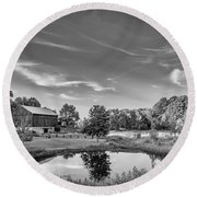 A Country Place Bw Round Beach Towel