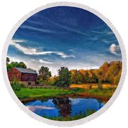 A Country Place Painted Version Round Beach Towel