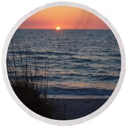 A Country Sunset Round Beach Towel