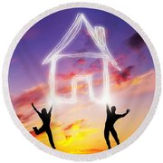 A Couple Jump And Make A House Symbol Of Light Round Beach Towel