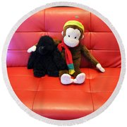 A Couple Of Monkeys Round Beach Towel