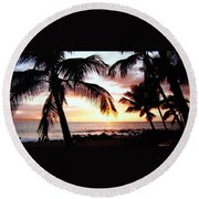 A Couple On The Shore Round Beach Towel