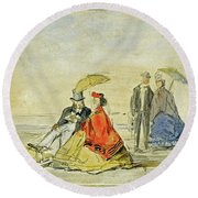 A Couple Seated And A Couple Walking On The Beach Round Beach Towel