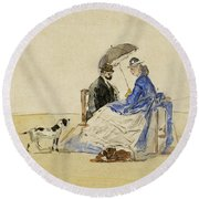 A Couple Seated On The Beach With Two Dogs Round Beach Towel