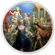 A Courtly Couple Courting Round Beach Towel