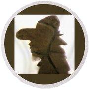 A Cowboy's Shadow In Rock - 2 Round Beach Towel
