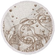A Dance Around The Bubbles Round Beach Towel