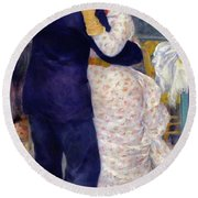A Dance In The Country Round Beach Towel by Pierre Auguste Renoir