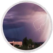A Dance Of Lightning In The Foothills Round Beach Towel