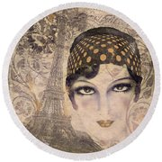 A Date With Paris Round Beach Towel