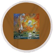 A Date With The Sunset Round Beach Towel