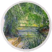 A Day At Giverny Round Beach Towel
