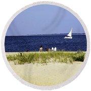 A Day At The Beach - Martha's Vineyard Round Beach Towel