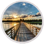 A Day At The Lake Round Beach Towel