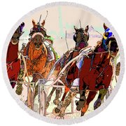 A Day At The Races 2 Round Beach Towel