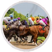 A Day At The Races Round Beach Towel