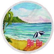 A Day In Paradise #354 Round Beach Towel