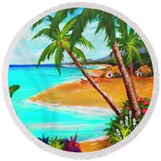 A Day In Paradise Hawaii #359 Round Beach Towel
