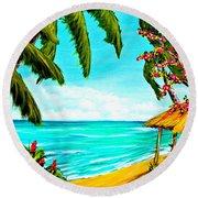 A Day In Paradise Hawaii Beach Shack  #360 Round Beach Towel