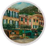 A Day In Portofino Round Beach Towel