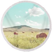A Day In The Fields Round Beach Towel