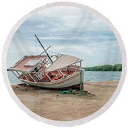 A Day Of Fishing Aground Round Beach Towel