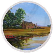 A Day On The Canal Round Beach Towel