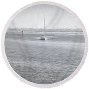 A Day On The Water Round Beach Towel