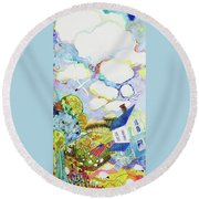 A Day With Sunshine- Iowa Round Beach Towel