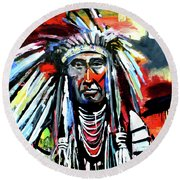 A Decorated Chief 1 Round Beach Towel