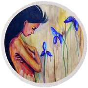 A Different Kind Of Blue Round Beach Towel