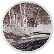 A Different World #1. Groove Of Trees Round Beach Towel