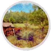 Grist Mill With Flowing Water Round Beach Towel
