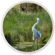 A Disagreement At The Pond Round Beach Towel