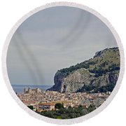 A Distant View Cefalu Sicily Round Beach Towel
