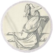 A Distraught Woman With Her Head Thrown Back Round Beach Towel