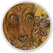 A Dog And It's Bumblebee Round Beach Towel