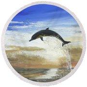 A Dolphin's Life Round Beach Towel